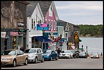 Street, Frenchman Bay and Bar Island. Bar Harbor, Maine, USA (color)