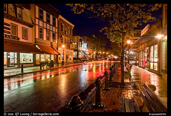 Picture/Photo: Main street at night  Bar Harbor, Maine, USA