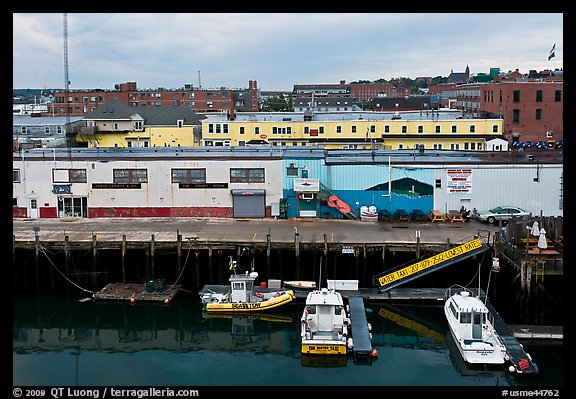 Boats and piers. Portland, Maine, USA (color)