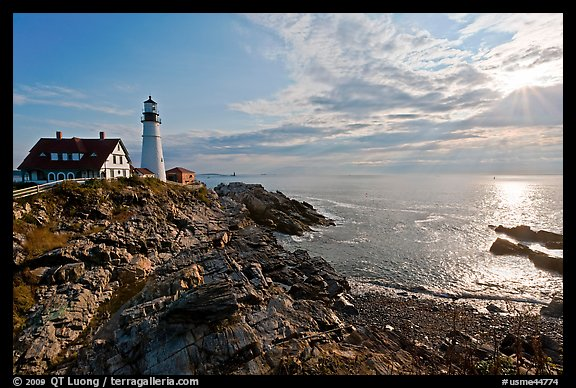 Portland Head Light on shores of Fort Williams Park. Portland, Maine, USA (color)