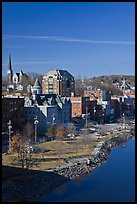 Churches and brick buildings. Augusta, Maine, USA ( color)