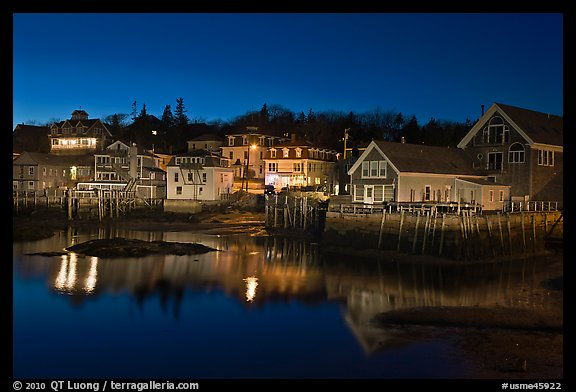 Harbor by night. Stonington, Maine, USA (color)
