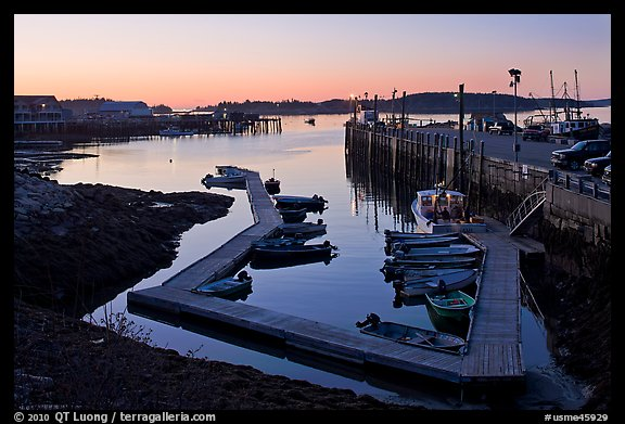 Small boat harbor at dawn. Stonington, Maine, USA (color)