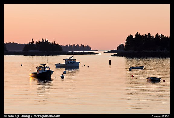 Boats and Penobscot Bay islets, sunrise. Stonington, Maine, USA (color)
