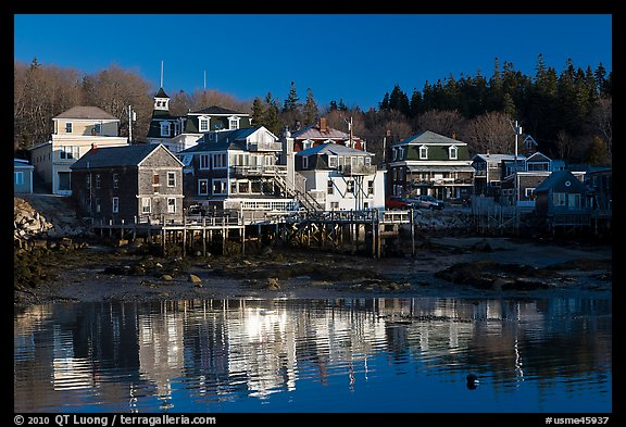Waterfront reflections. Stonington, Maine, USA (color)