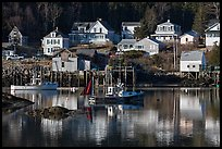 Fishing boats and houses. Stonington, Maine, USA ( color)