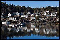 Reflection of hillside houses. Stonington, Maine, USA ( color)