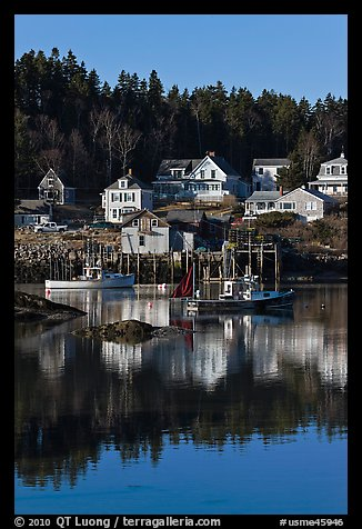 Harbor and houses, morning. Stonington, Maine, USA (color)