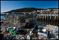 Fishing gear and harbor. Stonington, Maine, USA (color)