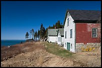 Historic houses and Penobscot Bay. Stonington, Maine, USA ( color)