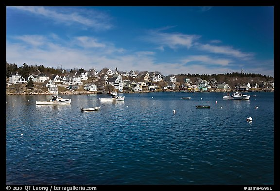 Village and harbor. Stonington, Maine, USA (color)