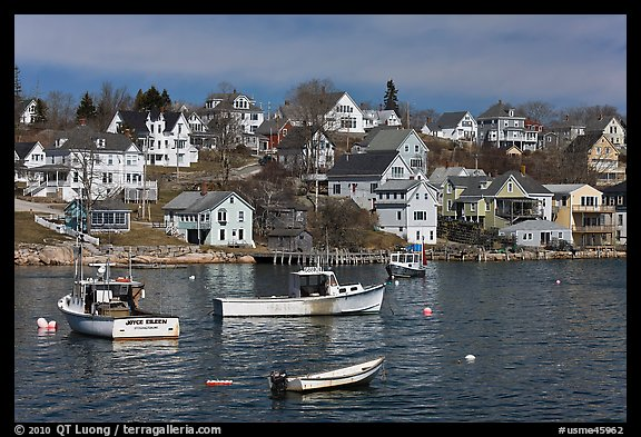 Lobstering boats and houses. Stonington, Maine, USA (color)