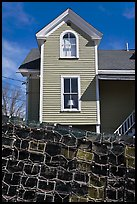 Lobster traps and house. Stonington, Maine, USA ( color)