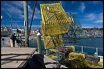 Lobsterman loading lobster traps. Stonington, Maine, USA ( color)