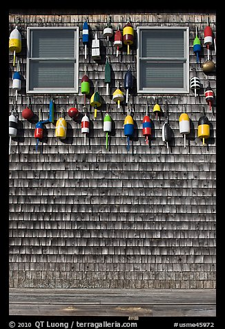 Facade decorated with buoys. Maine, USA (color)