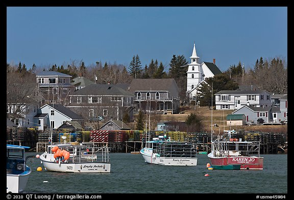 Lobster fleet and traditional village. Corea, Maine, USA (color)