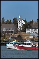 Lobster boats and village church. Corea, Maine, USA ( color)