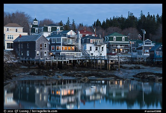 Main village waterfont at dawn. Stonington, Maine, USA