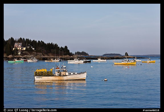 Traditional Maine lobstering boats. Stonington, Maine, USA (color)
