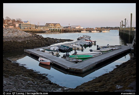 Small boat harbor at sunset. Stonington, Maine, USA (color)