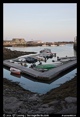 Small boats and harbor at sunset. Stonington, Maine, USA (color)