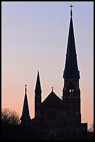 Cathedral spires backlit at dawn. Portland, Maine, USA ( color)