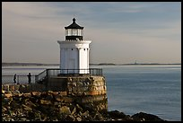 Children and Bug Light. Portland, Maine, USA ( color)