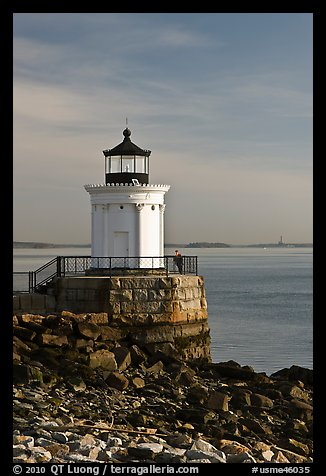 Bug Light with boy running. Portland, Maine, USA (color)
