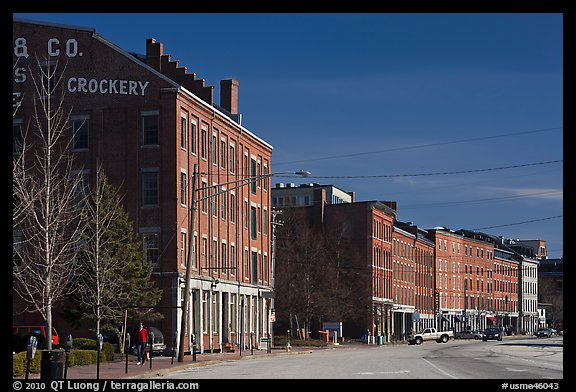 Historic brick buildings near waterfront. Portland, Maine, USA (color)