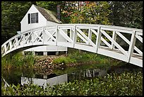 Arched bridge over mill pond. Maine, USA ( color)