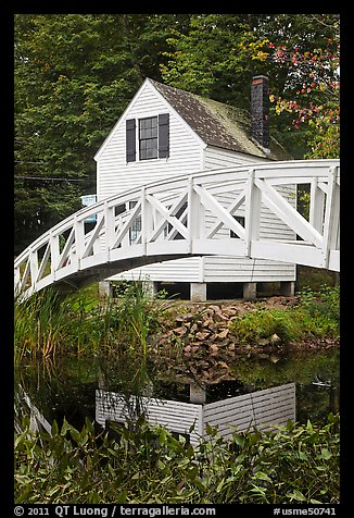 House and arched bridge. Maine, USA (color)
