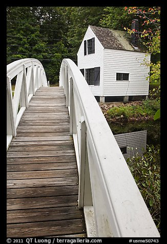 White wooden bridged and house. Maine, USA (color)