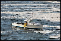 Fishermen on lobster boat. Bar Harbor, Maine, USA ( color)