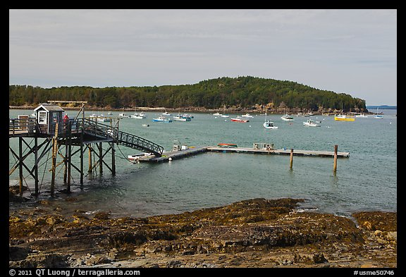 Harbor and Bar Island. Bar Harbor, Maine, USA (color)