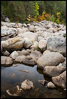 Boulders near Orin Falls in autumn. Katahdin Woods and Waters National Monument, Maine, USA ( color)