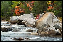 Whitewater of Wassatotaquoik Stream with boulders at Orin Falls. Katahdin Woods and Waters National Monument, Maine, USA ( color)