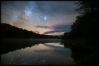 East Branch Penobscot River from Lunksoos Camp with stars. Katahdin Woods and Waters National Monument, Maine, USA ( color)