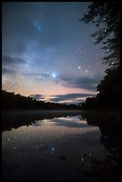 East Branch Penobscot River from Lunksoos Camp with stary sky. Katahdin Woods and Waters National Monument, Maine, USA ( color)