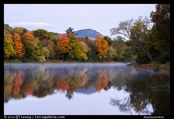 Desey Mountain reflected in East Branch Penobscot River. Katahdin Woods and Waters National Monument, Maine, USA (color)