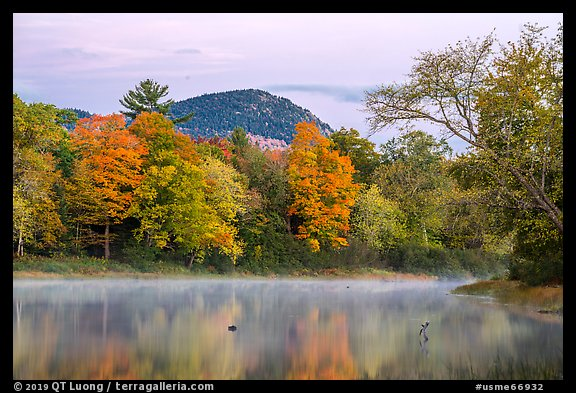 East Branch Penobscot River and Desey Mountain at dawn in autumn. Katahdin Woods and Waters National Monument, Maine, USA (color)