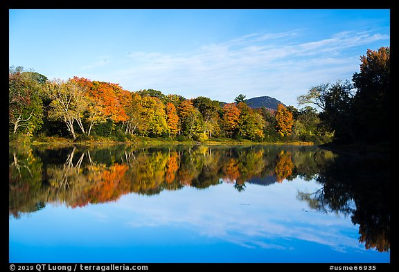 Morning reflections of trees in autumn foliage and mountain, Branch Penobscot River. Katahdin Woods and Waters National Monument, Maine, USA (color)