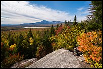 Baxter State Park from from Barnard Mountain in autumn. Katahdin Woods and Waters National Monument, Maine, USA ( color)