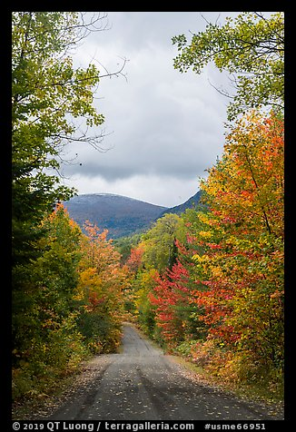 Road and mountain in autumn. Katahdin Woods and Waters National Monument, Maine, USA (color)