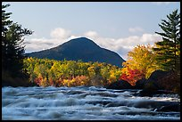 Haskell Rock Pitch rapids and Bald Mountain in autumn. Katahdin Woods and Waters National Monument, Maine, USA ( color)