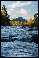 Haskell Rock Pitch whitewater and Bald Mountain in autumn. Katahdin Woods and Waters National Monument, Maine, USA ( color)