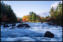 Haskell Rock Pitch and trees in autumn foliage, East Branch Penobscot River. Katahdin Woods and Waters National Monument, Maine, USA ( color)