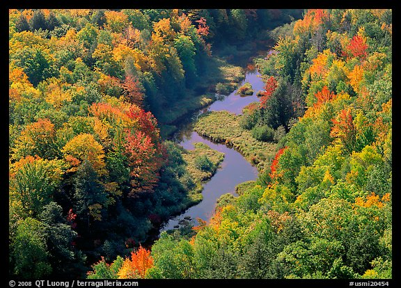 River with curve and fall forest from above, Porcupine Mountains State Park. USA (color)