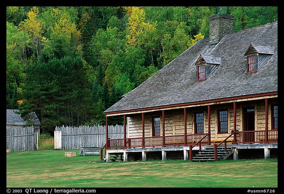 Historic Great Hall in Stockade site, Grand Portage National Monument. Minnesota, USA (color)