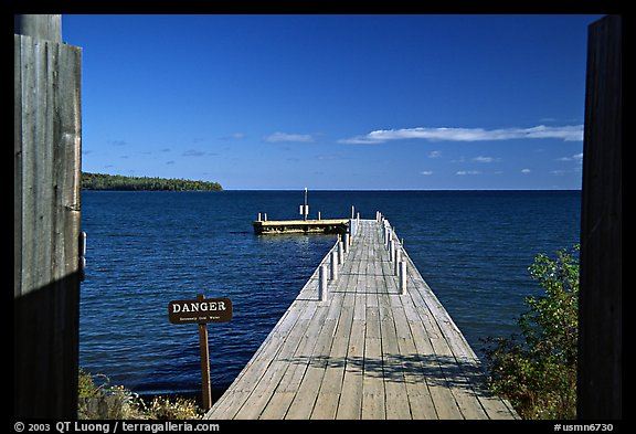 Pier on Lake Superior, Grand Portage National Monument. Minnesota, USA (color)