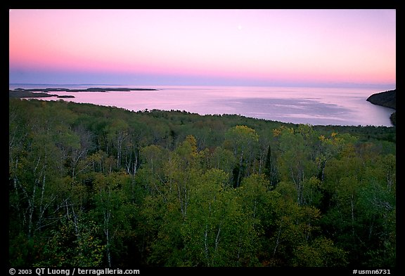Forests and Lake Superior at Dusk. Minnesota, USA (color)